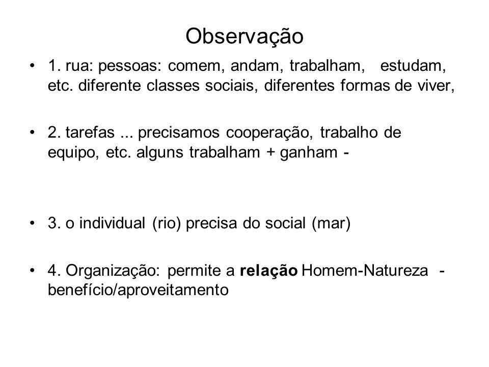 Observação 1. rua: pessoas: comem, andam, trabalham, estudam, etc. diferente classes sociais, diferentes formas de viver, 2. tarefas... precisamos coo