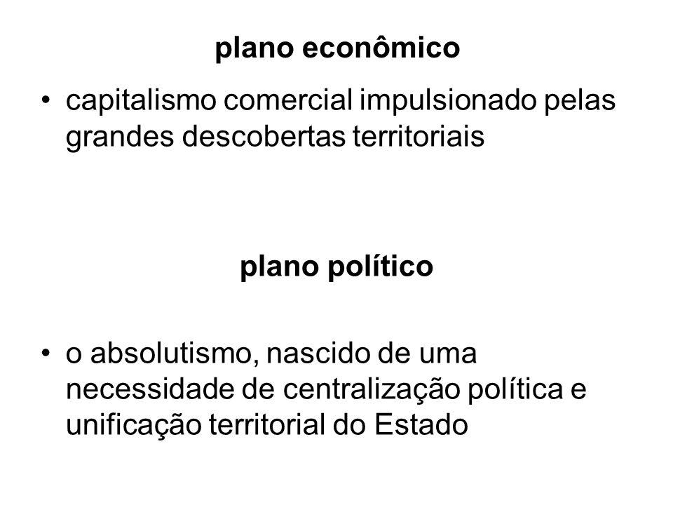 plano econômico capitalismo comercial impulsionado pelas grandes descobertas territoriais plano político o absolutismo, nascido de uma necessidade de