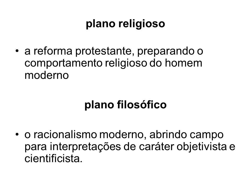 plano religioso a reforma protestante, preparando o comportamento religioso do homem moderno plano filosófico o racionalismo moderno, abrindo campo pa