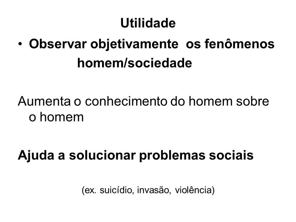 Utilidade Observar objetivamente os fenômenos homem/sociedade Aumenta o conhecimento do homem sobre o homem Ajuda a solucionar problemas sociais (ex.