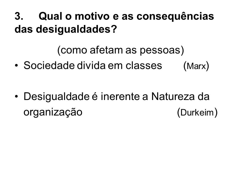 3.Qual o motivo e as consequências das desigualdades? (como afetam as pessoas) Sociedade divida em classes ( Marx ) Desigualdade é inerente a Natureza