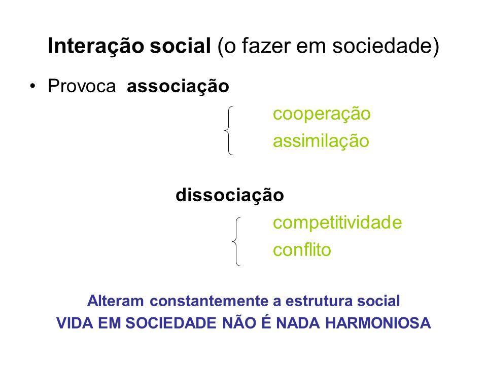 Interação social (o fazer em sociedade) Provocaassociação cooperação assimilação dissociação competitividade conflito Alteram constantemente a estrutu