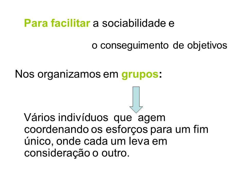 Para facilitar a sociabilidade e o conseguimento de objetivos Nos organizamos em grupos: Vários indivíduos que agem coordenando os esforços para um fi
