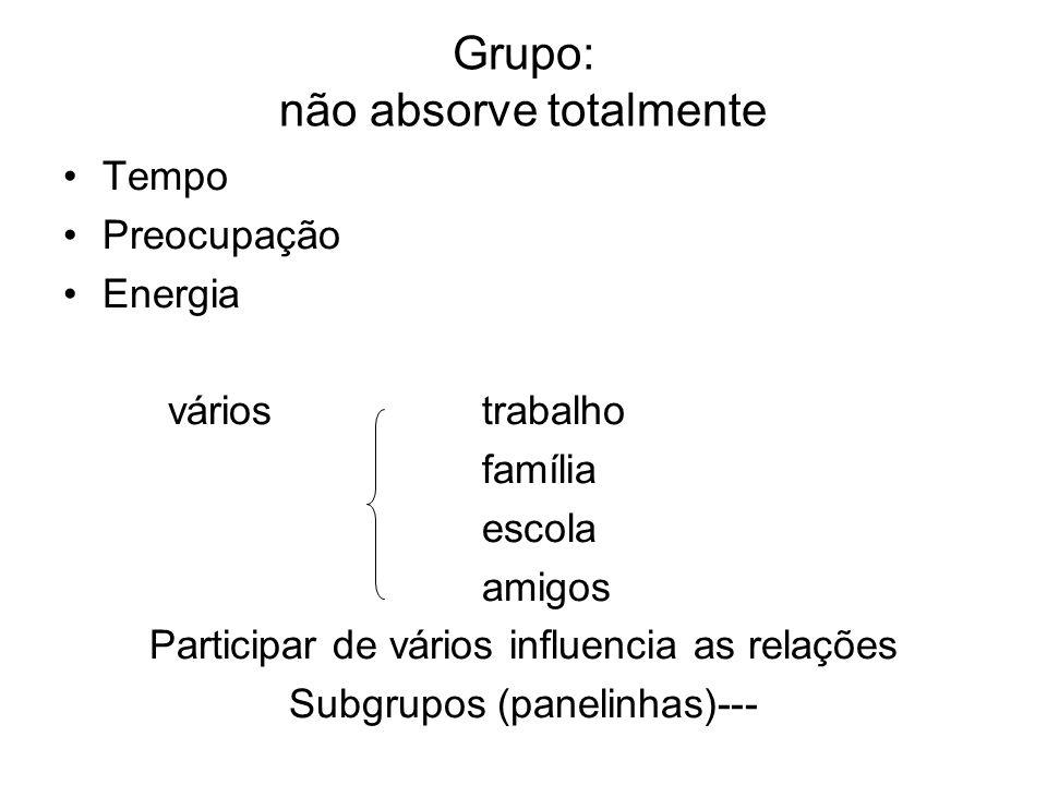 Grupo: não absorve totalmente Tempo Preocupação Energia váriostrabalho família escola amigos Participar de vários influencia as relações Subgrupos (pa