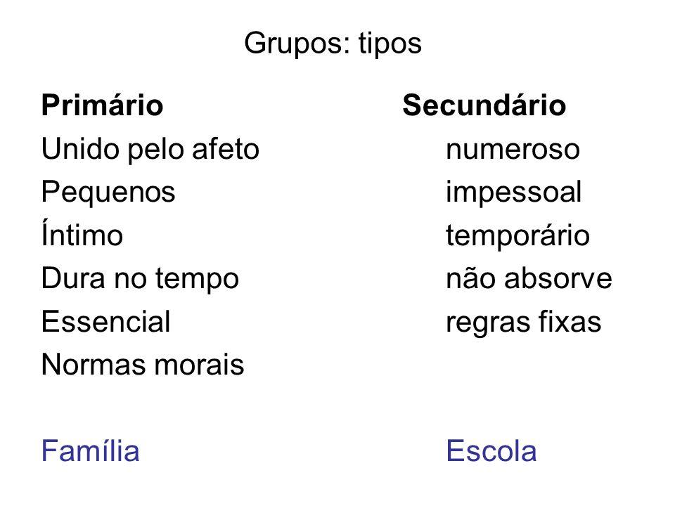 Grupos: tipos Primário Secundário Unido pelo afetonumeroso Pequenosimpessoal Íntimotemporário Dura no temponão absorve Essencialregras fixas Normas mo