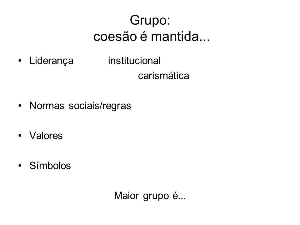 Grupo: coesão é mantida... Liderançainstitucional carismática Normas sociais/regras Valores Símbolos Maior grupo é...