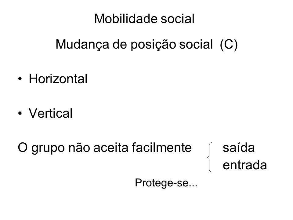 Mobilidade social Mudança de posição social (C) Horizontal Vertical O grupo não aceita facilmente saída entrada Protege-se...