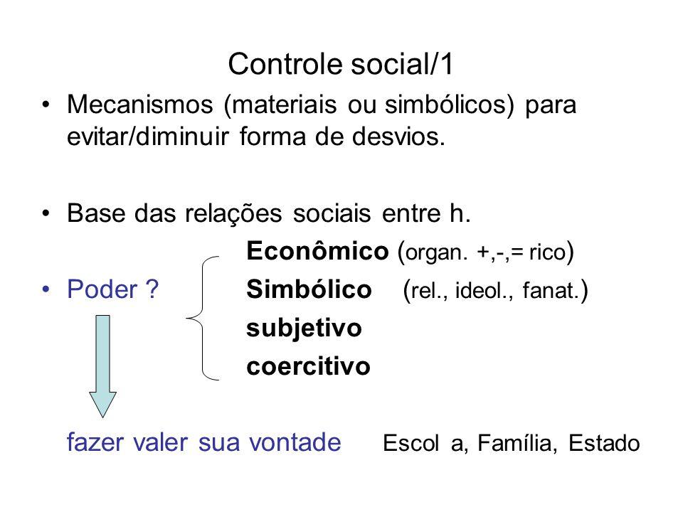 Controle social/1 Mecanismos (materiais ou simbólicos) para evitar/diminuir forma de desvios. Base das relações sociais entre h. Econômico ( organ. +,