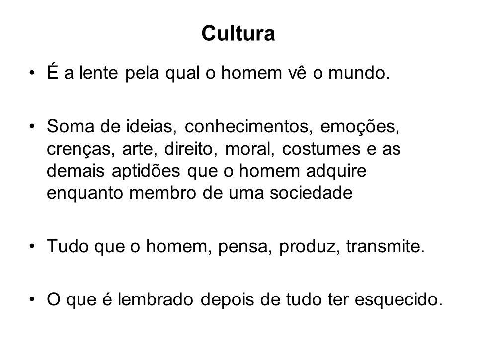 Cultura É a lente pela qual o homem vê o mundo. Soma de ideias, conhecimentos, emoções, crenças, arte, direito, moral, costumes e as demais aptidões q