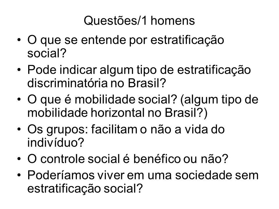 Questões/1 homens O que se entende por estratificação social? Pode indicar algum tipo de estratificação discriminatória no Brasil? O que é mobilidade