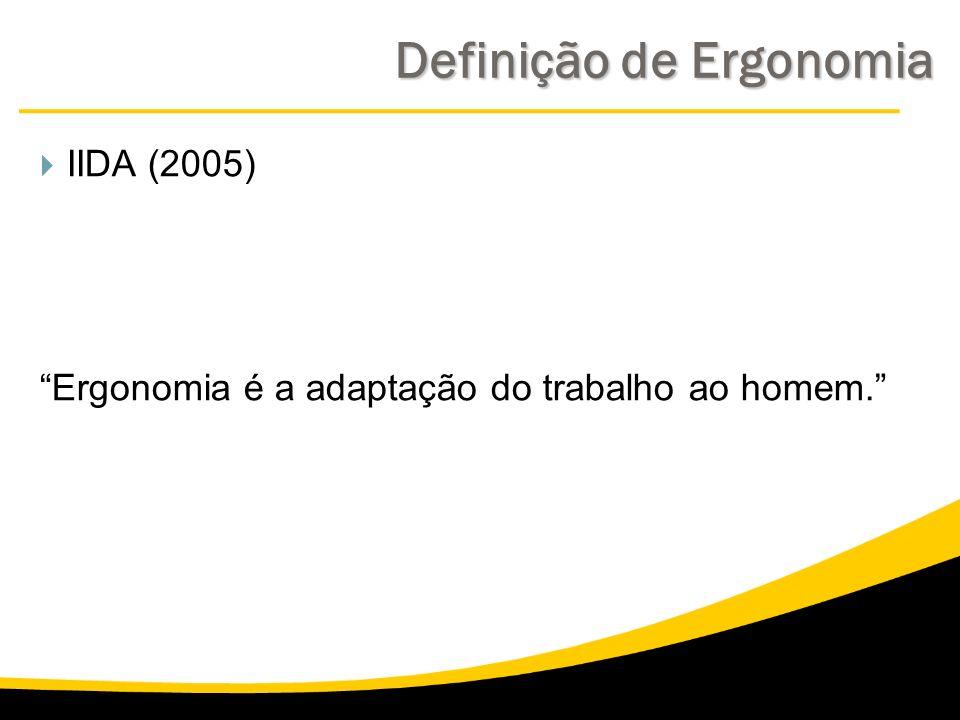 Definição de Ergonomia IIDA (2005) Ergonomia é a adaptação do trabalho ao homem.