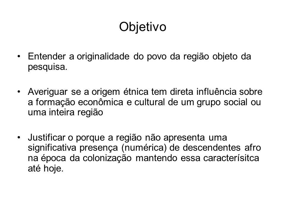 Objetivo Entender a originalidade do povo da região objeto da pesquisa. Averiguar se a origem étnica tem direta influência sobre a formação econômica