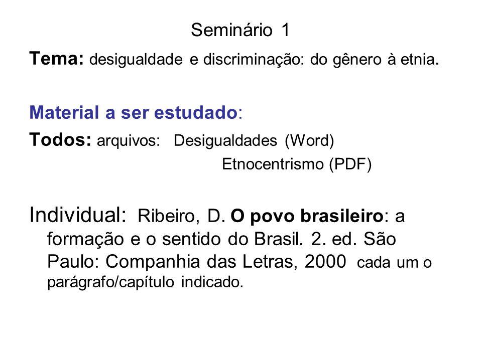 Seminário 1 Tema: desigualdade e discriminação: do gênero à etnia. Material a ser estudado: Todos: arquivos: Desigualdades (Word) Etnocentrismo (PDF)