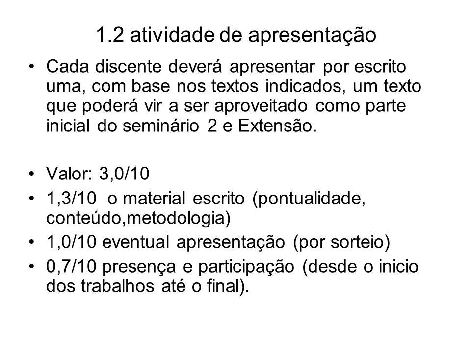 1.2 atividade de apresentação Cada discente deverá apresentar por escrito uma, com base nos textos indicados, um texto que poderá vir a ser aproveitad