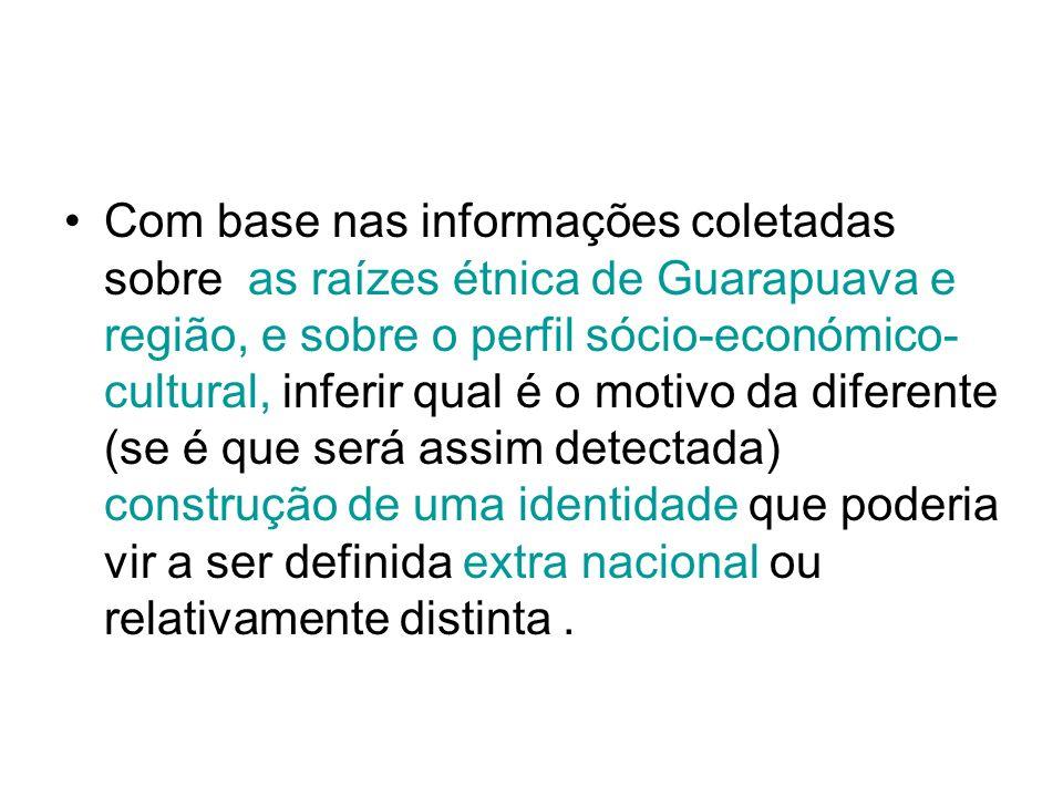 Com base nas informações coletadas sobre as raízes étnica de Guarapuava e região, e sobre o perfil sócio-económico- cultural, inferir qual é o motivo