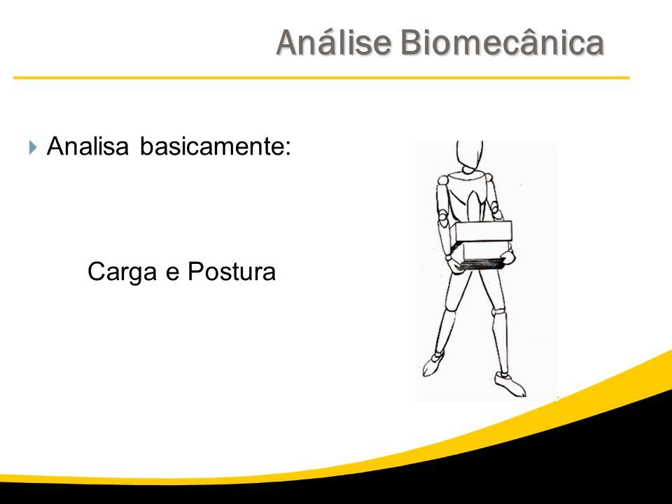 Análise Biomecânica Analisa basicamente: Carga e Postura