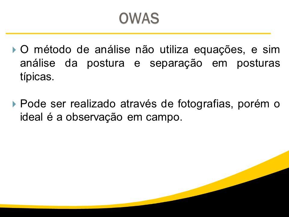 OWAS O método de análise não utiliza equações, e sim análise da postura e separação em posturas típicas. Pode ser realizado através de fotografias, po