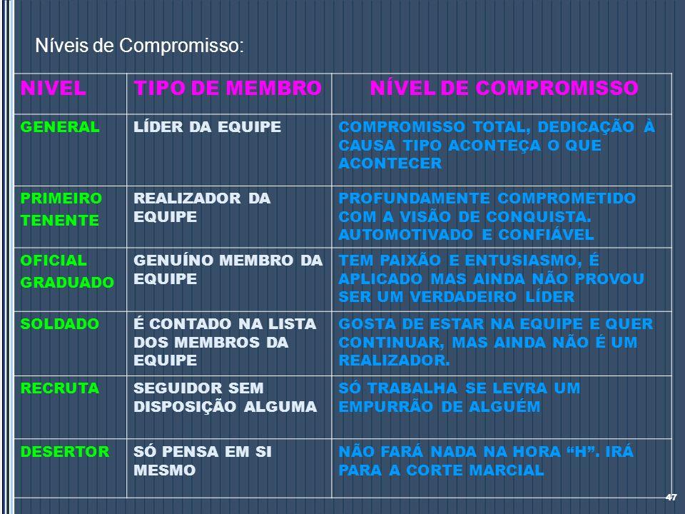Níveis de Compromisso: 47 NIVELTIPO DE MEMBRO NÍVEL DE COMPROMISSO GENERALLÍDER DA EQUIPECOMPROMISSO TOTAL, DEDICAÇÃO À CAUSA TIPO ACONTEÇA O QUE ACON