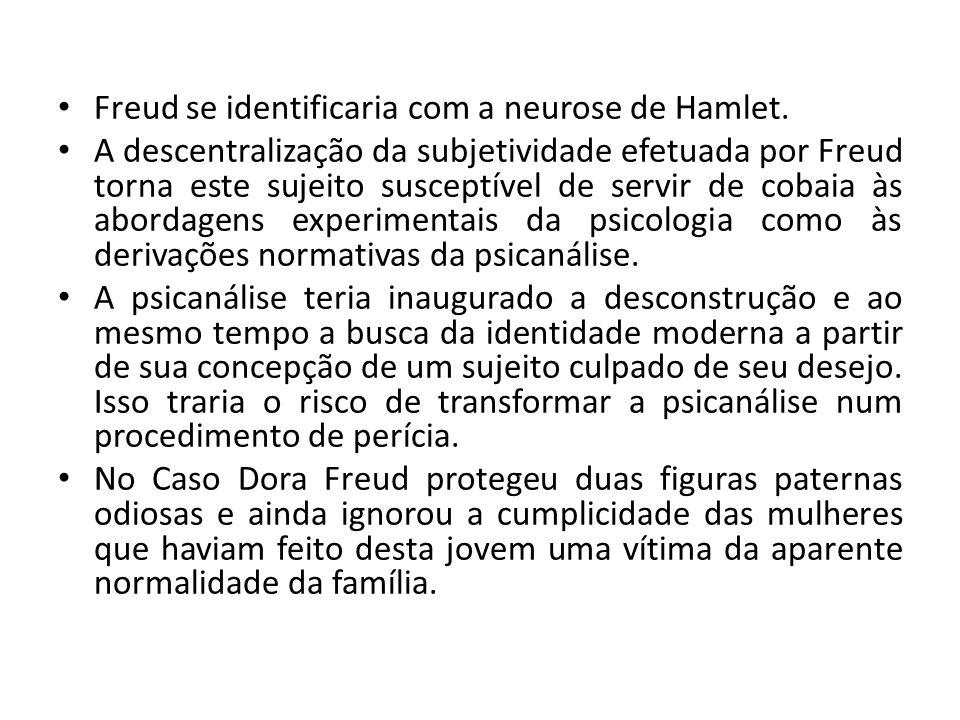 Freud se identificaria com a neurose de Hamlet. A descentralização da subjetividade efetuada por Freud torna este sujeito susceptível de servir de cob