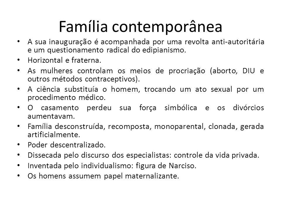 Família contemporânea A sua inauguração é acompanhada por uma revolta anti-autoritária e um questionamento radical do edipianismo. Horizontal e frater