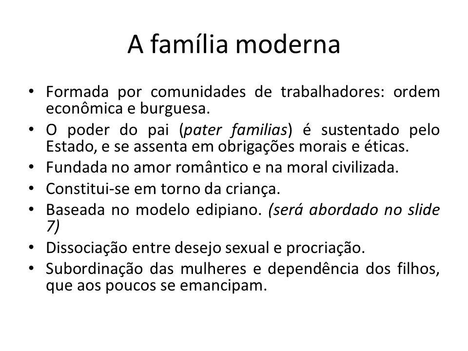 A família moderna Formada por comunidades de trabalhadores: ordem econômica e burguesa. O poder do pai (pater familias) é sustentado pelo Estado, e se