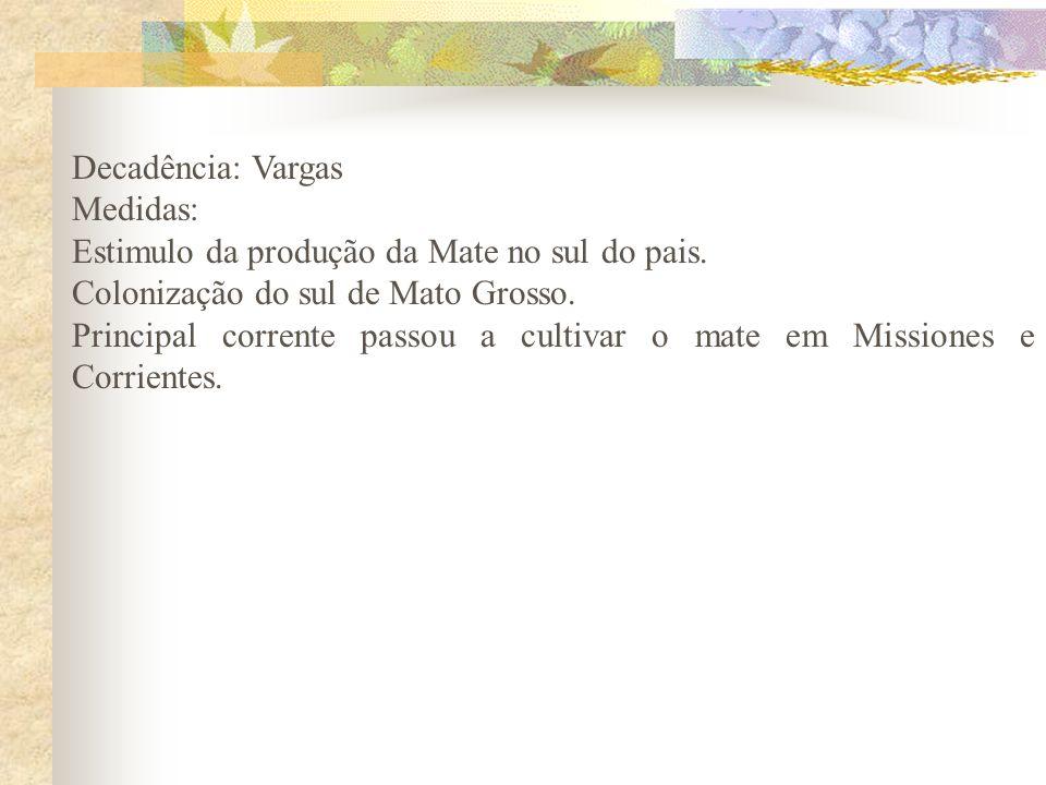 Decadência: Vargas Medidas: Estimulo da produção da Mate no sul do pais. Colonização do sul de Mato Grosso. Principal corrente passou a cultivar o mat