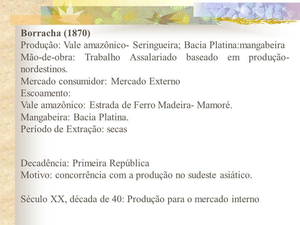 Borracha (1870) Produção: Vale amazônico- Seringueira; Bacia Platina:mangabeira Mão-de-obra: Trabalho Assalariado baseado em produção- nordestinos. Me