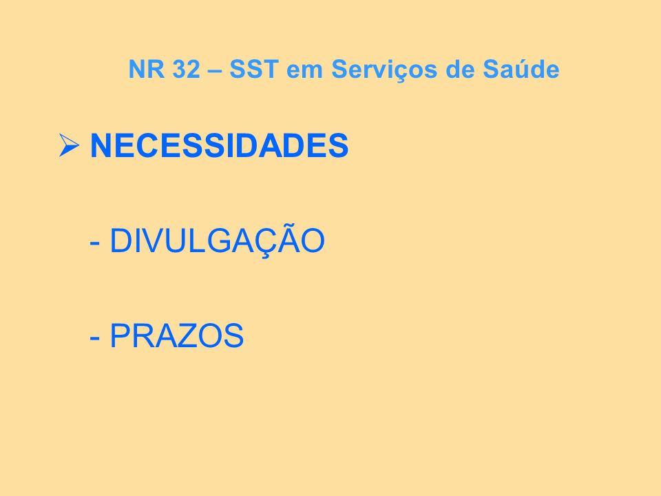 NECESSIDADES - DIVULGAÇÃO - PRAZOS NR 32 – SST em Serviços de Saúde