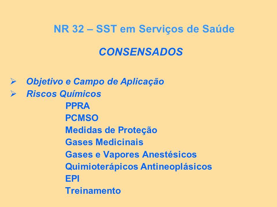 CONSENSADOS Objetivo e Campo de Aplicação Riscos Químicos PPRA PCMSO Medidas de Proteção Gases Medicinais Gases e Vapores Anestésicos Quimioterápicos