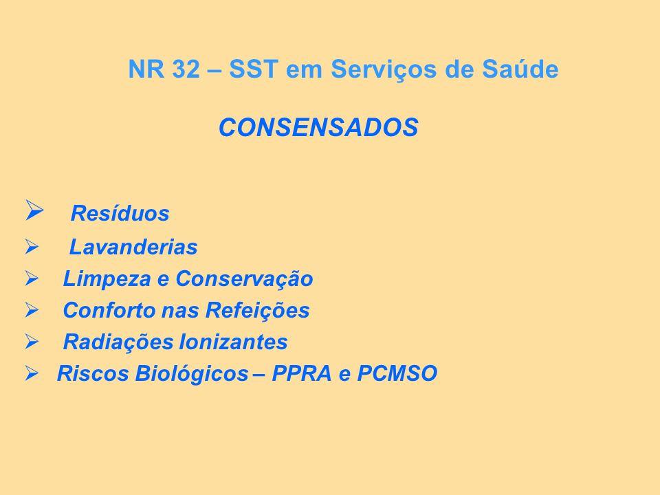 CONSENSADOS Resíduos Lavanderias Limpeza e Conservação Conforto nas Refeições Radiações Ionizantes Riscos Biológicos – PPRA e PCMSO NR 32 – SST em Ser