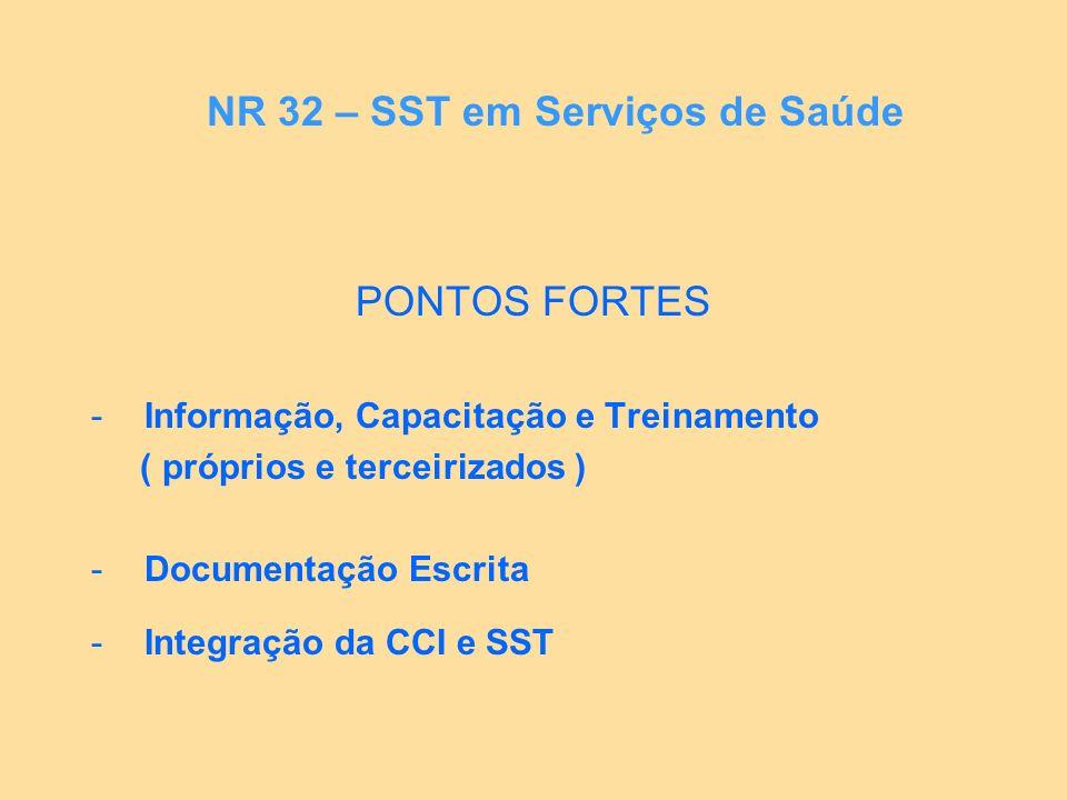 PONTOS FORTES -Informação, Capacitação e Treinamento ( próprios e terceirizados ) -Documentação Escrita -Integração da CCI e SST NR 32 – SST em Serviç