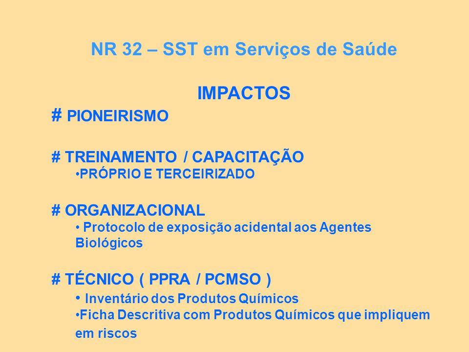 IMPACTOS # PIONEIRISMO # TREINAMENTO / CAPACITAÇÃO PRÓPRIO E TERCEIRIZADO # ORGANIZACIONAL Protocolo de exposição acidental aos Agentes Biológicos # T