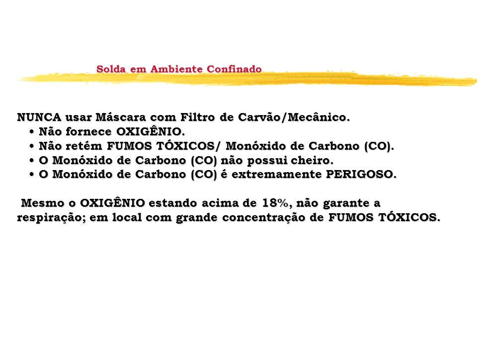 NUNCA usar Máscara com Filtro de Carvão/Mecânico. Não fornece OXIGÊNIO. Não fornece OXIGÊNIO. Não retém FUMOS TÓXICOS/ Monóxido de Carbono (CO). Não r