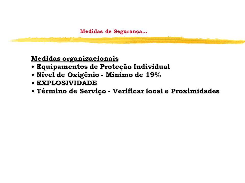 Medidas de Segurança... Medidas organizacionais Equipamentos de Proteção Individual Equipamentos de Proteção Individual Nível de Oxigênio - Mínimo de