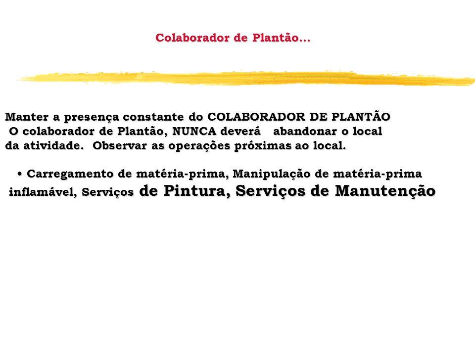 Colaborador de Plantão... Manter a presença constante do COLABORADOR DE PLANTÃO O colaborador de Plantão, NUNCA deverá abandonar o local O colaborador