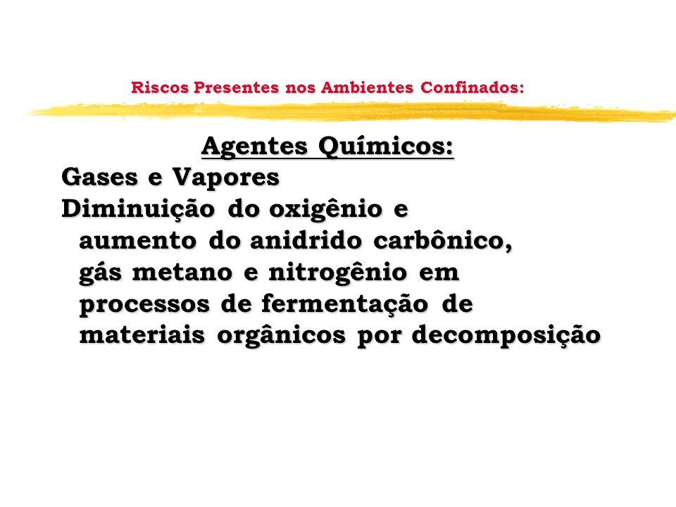 Riscos Presentes nos Ambientes Confinados: Agentes Químicos: Gases e Vapores Gases e Vapores Diminuição do oxigênio e Diminuição do oxigênio e aumento