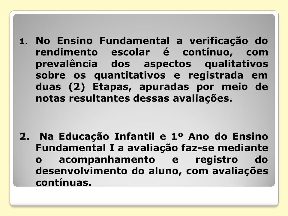 1. No Ensino Fundamental a verificação do rendimento escolar é contínuo, com prevalência dos aspectos qualitativos sobre os quantitativos e registrada