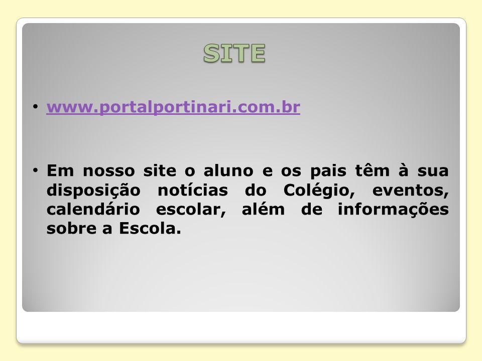 www.portalportinari.com.br Em nosso site o aluno e os pais têm à sua disposição notícias do Colégio, eventos, calendário escolar, além de informações