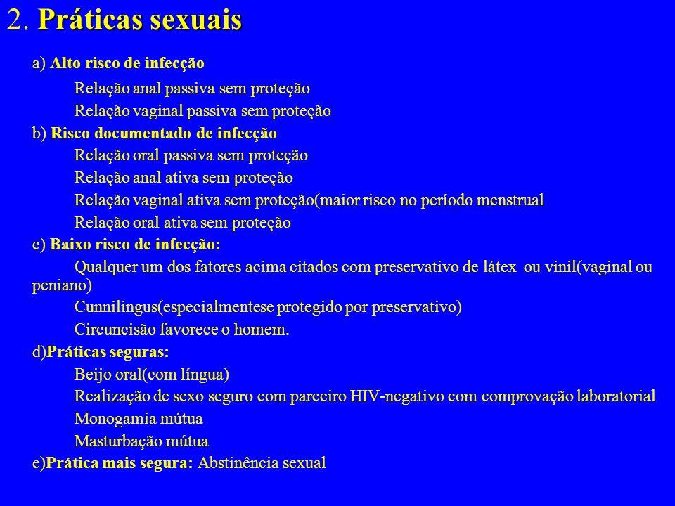 Comportamentos específicos relacionados à transmissão do HIV Comportamentos sexuais A)Comportamentos sexuais 1.Parceiros sexuais Parceiros HIV+( ou aq