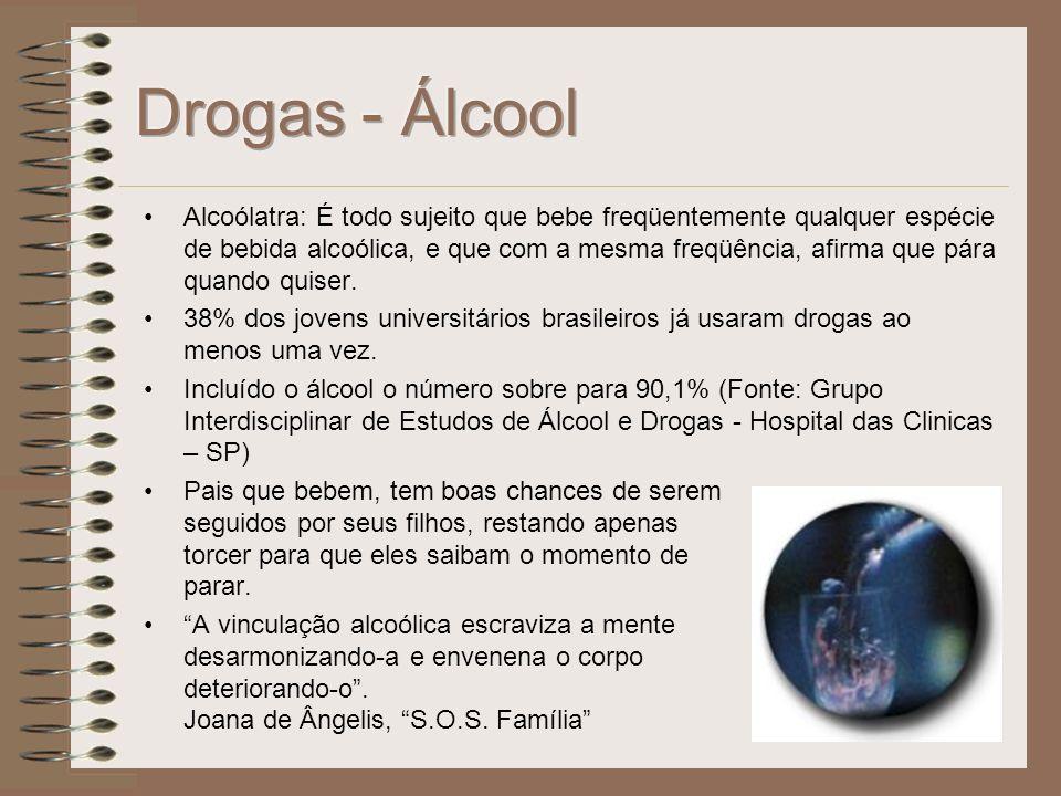 Definição: Segundo o dicionário Aurélio, droga é qualquer substância alucinógena, entorpecente ou excitante, utilizada com a finalidade de alterar tra