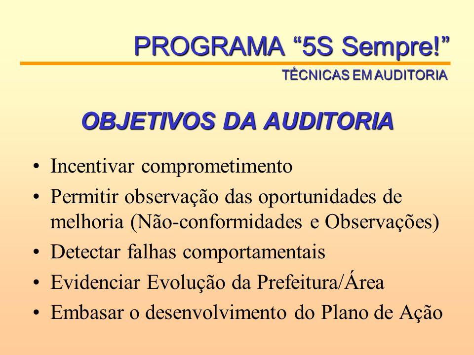 OBJETIVOS DA AUDITORIA Incentivar comprometimento Permitir observação das oportunidades de melhoria (Não-conformidades e Observações) Detectar falhas