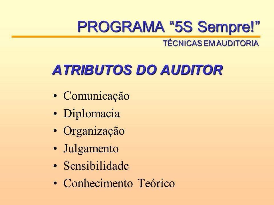 ATRIBUTOS DO AUDITOR Comunicação Diplomacia Organização Julgamento Sensibilidade Conhecimento Teórico PROGRAMA 5S Sempre! TÉCNICAS EM AUDITORIA
