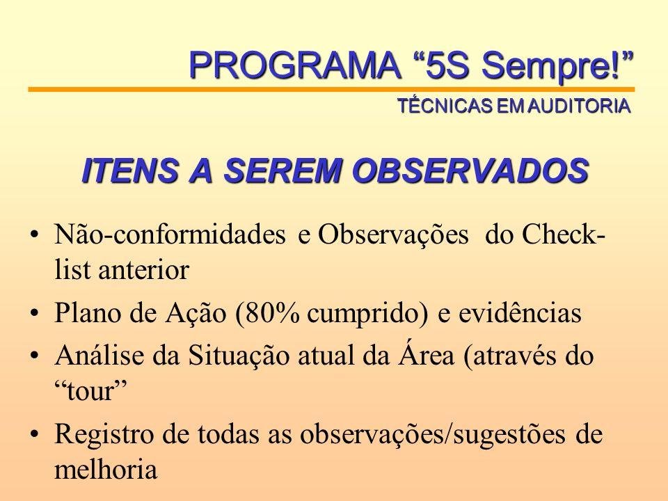 ITENS A SEREM OBSERVADOS Não-conformidades e Observações do Check- list anterior Plano de Ação (80% cumprido) e evidências Análise da Situação atual d