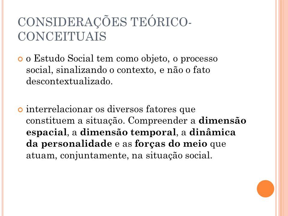 CONSIDERAÇÕES TEÓRICO- CONCEITUAIS o Estudo Social tem como objeto, o processo social, sinalizando o contexto, e não o fato descontextualizado.