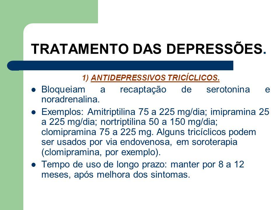 TRATAMENTO DAS DEPRESSÕES. ANTIDEPRESSIVOS. A categoria de drogas psiquiátricas que mais foi ampliada nos últimos 05 anos. Descobertos na década de 50