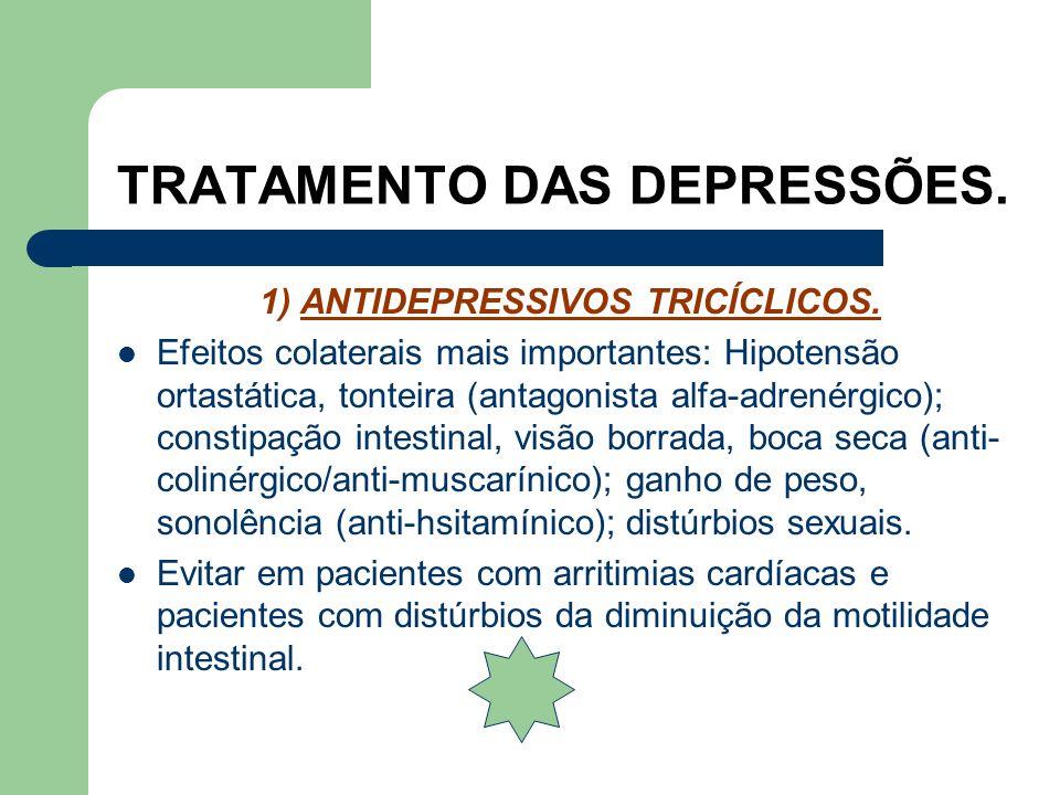 TRATAMENTO DAS DEPRESSÕES. 1) ANTIDEPRESSIVOS TRICÍCLICOS. Bloqueiam a recaptação de serotonina e noradrenalina. Exemplos: Amitriptilina 75 a 225 mg/d