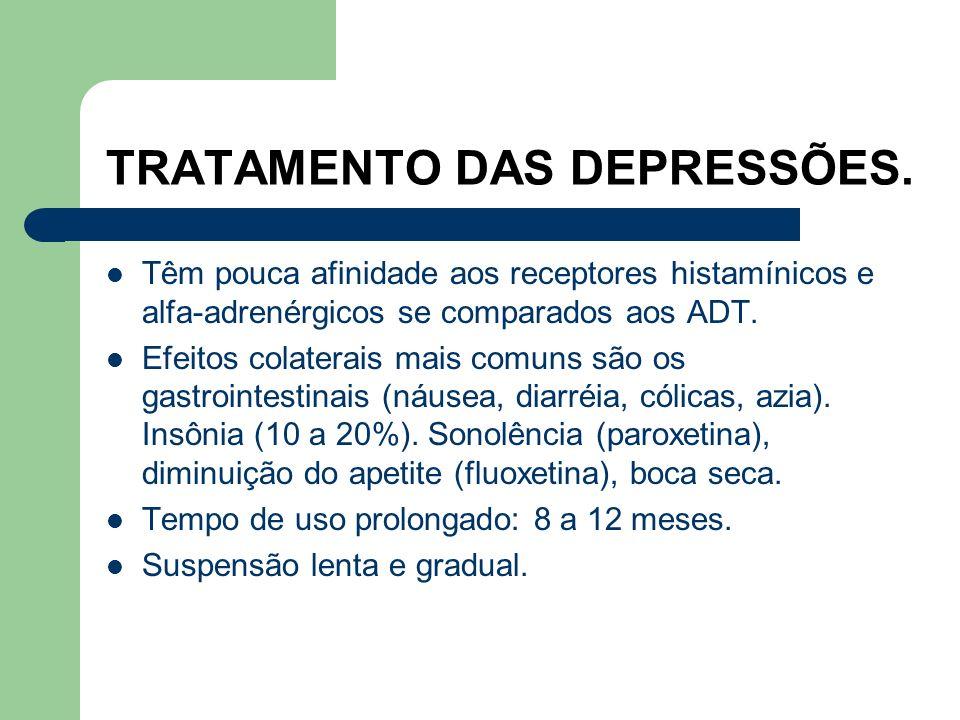 TRATAMENTO DAS DEPRESSÕES. INIBIDORES SELETIVOS DA RECAPTAÇÃO DA SEROTONINA (ISRS). Foram liberadas para uso em 1988. Aumento crescente em seu uso. Bo