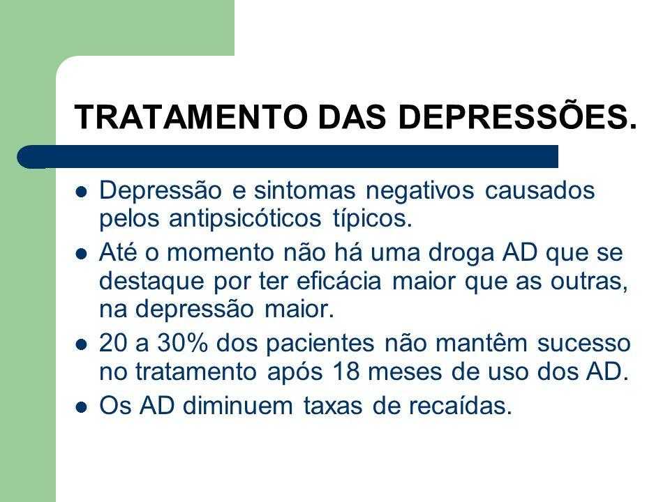TRATAMENTO DAS DEPRESSÕES. 3) NOVOS ANTIDEPRESSIVOS. Mirtazapina. Trazodona e nefadozona. Venlafaxina. Bupropiona. Duloxetina.