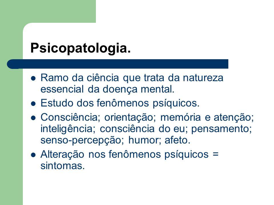 Psicopatologia.Ramo da ciência que trata da natureza essencial da doença mental.