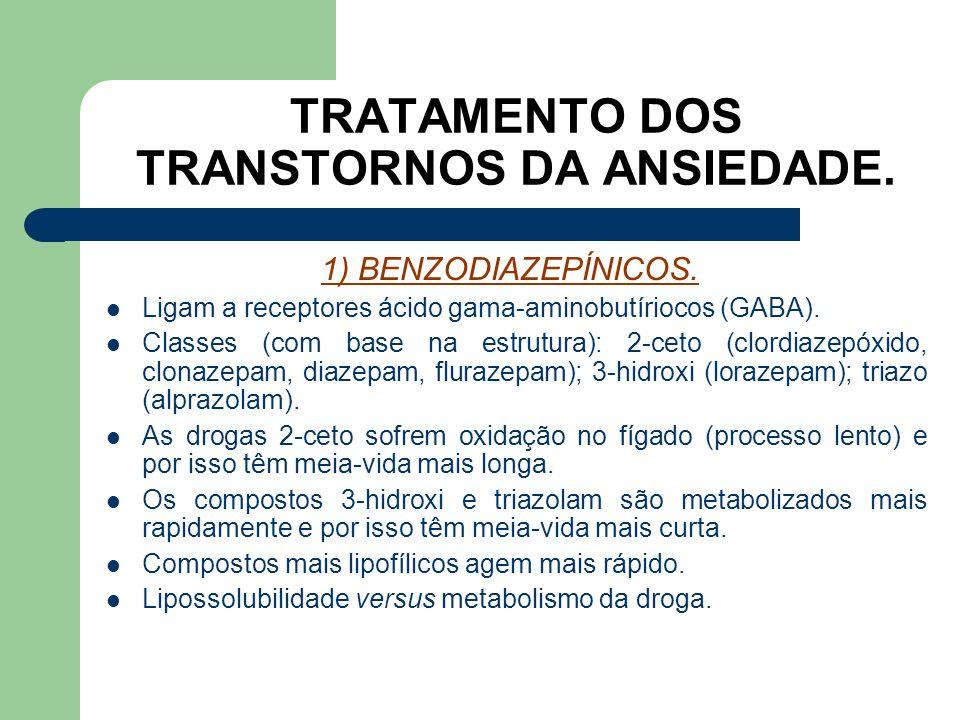 TRATAMENTO DOS TRANSTORNOS DA ANSIEDADE. 1) BENZODIAZEPÍNICOS. São usadas contra a ansiedade e indicadas também para o relaxamento muscular, insônia,